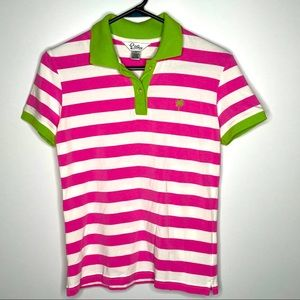 Lilly Pulitzer Pink Striped Polo Shirt Palm Tree